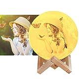 16 color Foto personalizzata Lampada Luna 3D Stampata, Piena Lampada Moon Luna con Diametro Ricarica USB Decorativo LED Luce Notturna Toccare il Controllo, Decoro per Stanza Letto Mood Light Camera