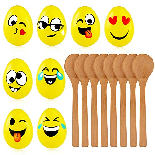 THE TWIDDLERS Eierlaufen mit Emoji Eiern, 8 Holzlöffeln & 8 Eier Kinder.Partyzubehoer Spiel, Gartenspiele Spielzeug.