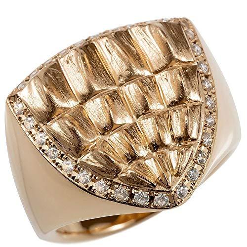 [アトラス]Atrus リング メンズ 18金 ピンクゴールドk18 ダイヤモンド クロコダイル つや消し 幅広 印台 指輪 25号