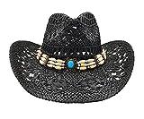 Sombrero de Cowboy de Paja Vaquero Panamá con Banda Occidental Unisex Talla Única Hombre Mujer para Verano (XH-12501)