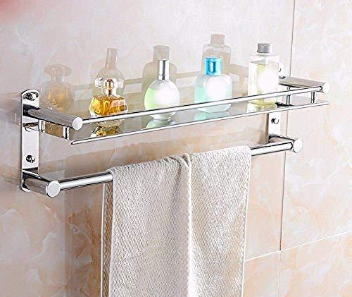PYROJEWEL Barra de Pared del Carril de Pared del Carril Bastidores Colgador de Pared de Acero Inoxidable baño Estante Que cuelga baño Estante Plegable 40cm Estante estantería de baño