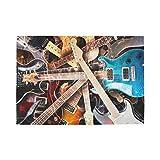 Home Place Mats Jazz Rock Cool Guitarra eléctrica para niño 12x18 Pulgadas Restaurant Place Mats Set de 6 Doble Tela de impresión de Lino de algodón para Mesa de Cocina