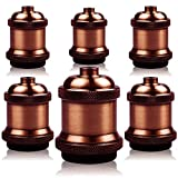 6 portalámparas E27 vintage Edison – Portalámparas de cerámica sólido para lámpara de techo, adaptador de iluminación (latón rojo antiguo)