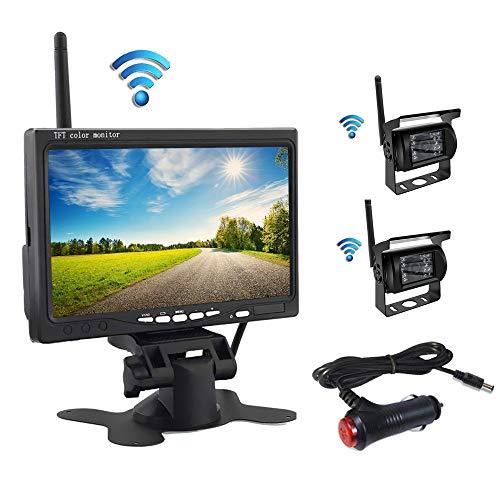 QiLiehu Wireless-Rückfahrkamera-Kit, 7-Zoll-HD-TFT-LCD-Monitor mit Antenne, 2 x Wireless-Rückfahrkamera, IP67, Nachtversion, 12-24 V, geeignet für Busse, SUV, LKWs, Anhänger