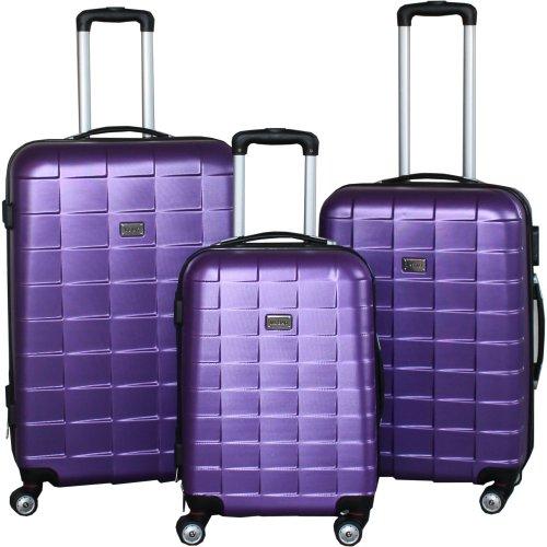 BERWIN® Kofferset 3-teilig Reisekoffer Koffer Trolley Hartschalenkoffer ABS Teleskopgriff Modell Squares (Lila)