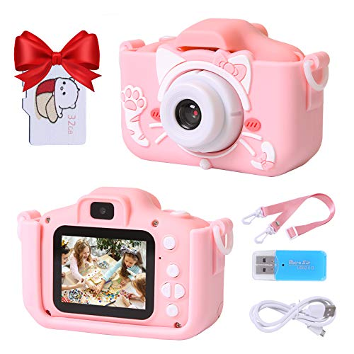 Playoos Kids Camera for Girls Boys,Kids Selfie Camera,Dual Lens 2.0 Inch Screen,Digital Camera Toys for Kids with 32GB Memory Card, Cute Pink Cat Case,Great Kids Birthday for Age 3-12