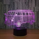 Camping bus ilusión óptica 3D luz LED luz de noche acrílica transparente luz LED 7 mesa táctil que cambia de color luz anticolisión de la habitación