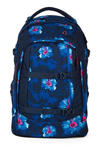 satch pack Waikiki Blue 4er Set Schulrucksack, Schlamperbox, Heftebox & Regencape Blau