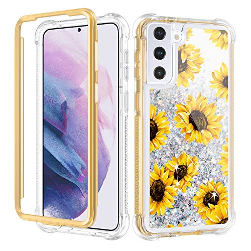 Caka Galaxy S21 Plus 5G Case, Sunflower S21 Plus Case Glitter Liquid Full Body Case for Women Girls Girly Protective Bumper Case Without Screen Protector for Galaxy S21 Plus 6.7 inches (Sunflower)