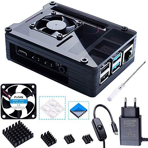 Bruphny Caja para Raspberry Pi 4 con 35mm Ventilador + Cargador de 5V / 3A USB-C + 4 X Disipador Compatible con Raspberry Pi...