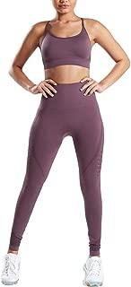 WODOWEI Women 2 Piece Outfits Leggings+Sports Bra Yoga Set Long Pants Tracksuits (YO316-brown-M)