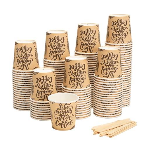 HAPPYFOOD 100 Bicchierini Caffe Carta 110ml   4oz + 100 Palette Legno imbustate singolarmente - Biodegradabili bastoncini monouso usa e getta bio per caffè espresso (Life Begins After Coffee)