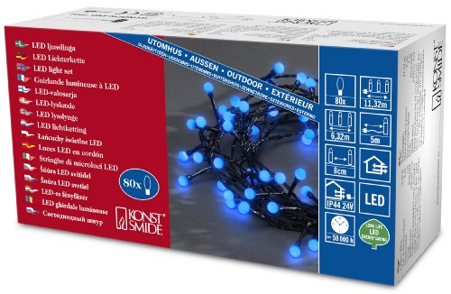 Konstsmide 3691-407 Guirlande d'Eclairage de Cabochon Globe 80 Micro LEDs 24 V Bleu Câble Noir