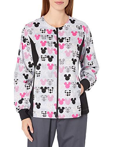 CHEROKEE Women's Tooniforms-Disney Zip Front Knit Panel Warm-up Jacket, Mickey, Medium