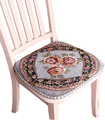 European Embroidery Chair Pads Sitzkissen mit Krawatte für Home Office Dinning Chair Indoor Outdoor Seat Chair Pad,Gray-setof2
