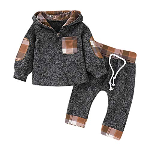 Yazidan 2 Stück Kinderkleidung Set Baby Plaid Hooded Pullover Kapuzenpullover Mantel Outfits Kleinkind Junge Stil Beschriftung Hoodie Tops Hose Strampelanzug Baumwolle Langarmshirt Strampelhöschen
