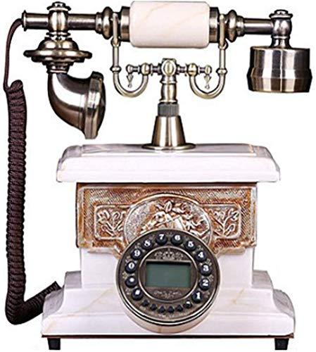 AWAING Telefonos Antiguos Vintage Teléfono Vintage con botón pulsador y cordón de Tela - Acabado en Metal Bronce