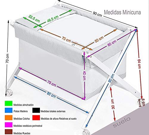 Minicuna mibebestore Plegable Transparente Estrellas Gris: Estructura + Vestidura + Colcha Desenfuntable + Colchón + Almohada