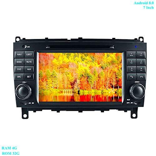 XISEDO In-dash Android 8.0 Autoradio 7' Car Stereo RAM 4G ROM 32G Navigazione GPS Lettore DVD per Benz CLK W209 2006-2012/CLS W219 2004-2008 (Autoradio)