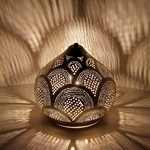 Casa Moro Orientalische Tischlampe marokkanische Bodenleuchte Aswan D28 Silber in Tropfenform mit E27 Fassung | Echt versilberte Stehlampe aus Messing | Kunsthandwerk aus Marokko | ESL2017