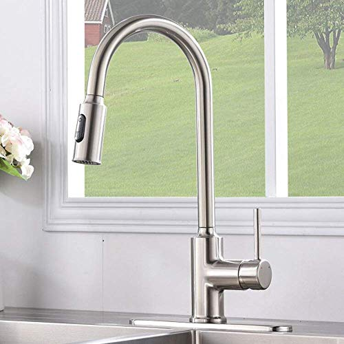 Kingo Home Stainless Steel Kitchen Sink Faucet Swivel Pull Out Spray Tap W/plate