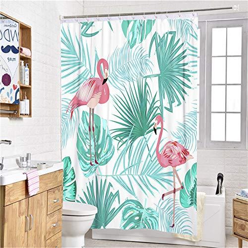 Sticker superb 3D Tier Rosa Flamingo Tropisch Blume Duschvorhänge mit Haken, Tukan Kaktus Drucken Duschvorhänge Mikrofaser Polyester Anti-Schimmel Wasserdicht (Tropisch Flamingo, 90x180cm)