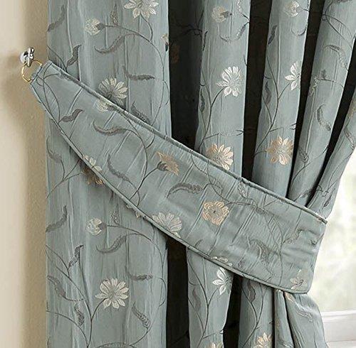Homescapes Gardinen Raffhalter 2 Stück Blaugrün ergänzend zu Klassische Fertiggardinen Set Chintz Blumen Muster Jacquard Vorhang Floral