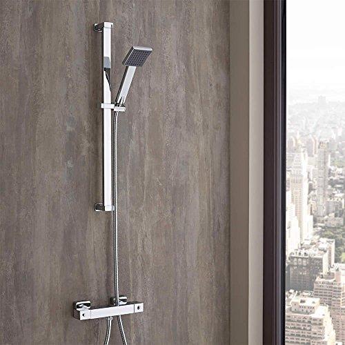 Hudson Reed - Douche Thermostatique Cubique - Mitigeur Laiton/ABS Chromé - Design Moderne