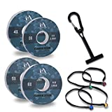 M MAXIMUMCATCH Maxcatch Fluorocarbon Leader Tippet Line for Fly Fishing with Tippet Line Holder & Tender, Clear, 50m/55Yds, 4PCS (3X+4X+5X+6X (55yds per Spool))