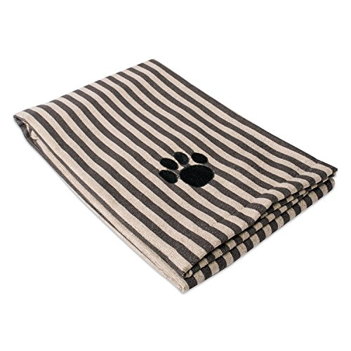 DII Bone Dry Microfiber Dog Bath Towel with Embroidered Paw Print - 44x27.5