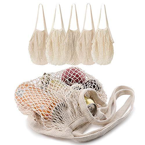 轻盈好用的棉网购物袋,5件装,长手柄设计提物更省力