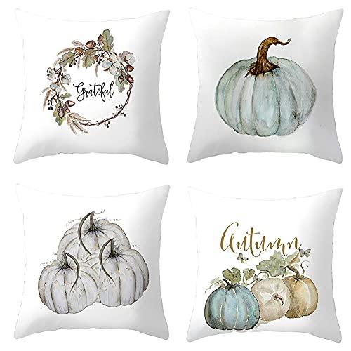SONGJOY 4 fundas de cojín de otoño de 45 x 45 cm, de ante suave, de calabaza, para Halloween, Acción de Gracias, fundas de almohada para sofá, dormitorio, decoración de oficina