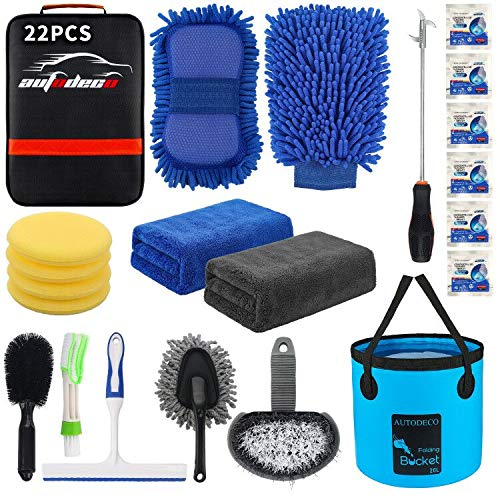 AUTODECO 22Pcs Car Wash Cleaning Tools Kit Car Detailing Set with Black Canvas Bag Collapsible Bucket Wash Mitt Sponge Towels Tire Brush Window Scraper Duster Complete Interior Car Care Kit