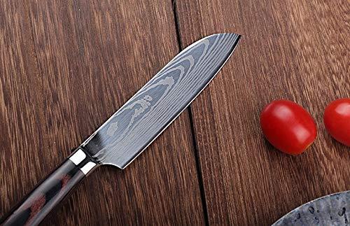 YUSHU - Couteau de Cuisine, Couteau Damas, Petit couteau Santoku Professionnel japonais, Lame de 13cm en Acier carbone inoxydable, Lame tranchante, Poignée ergonomique antidérapante – Boite cadeau