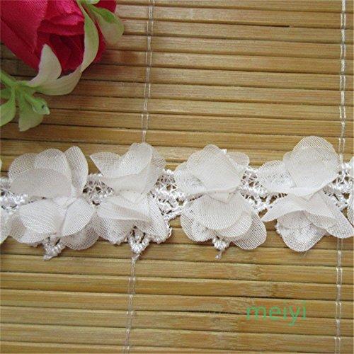 Cinta de 2 metros de encaje con borde de flores en 3D, 3 cm de ancho, estilo clásico, color blanco, ribete de tela, bordado, para costura, manualidades, boda, vestido de novia,...