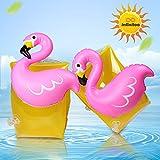 Brassard Gonflable, Brassard Gonflable Enfant pour Bébé de 3-8 Ans, Capacité de Charge Maximale est 30kg, 3D Cartoon Flamingo Conception, pour la Piscine, Les Activités de Plage