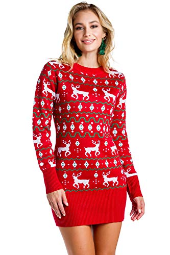 Reindeer Ugly Christmas Sweater Dress
