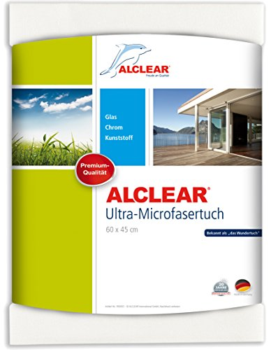 ALCLEAR 950002 Microfaser Fenstertuch - ideal als Mikrofasertuch - Scheibentuch zum Putzen von Auto, Haushalt, Fenster & Chrom - 60x45 cm, weiss