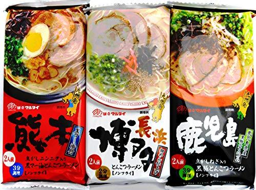 マルタイ 棒ラーメン 九州人気とんこつ味3種セット(博多・熊本・鹿児島:各1袋ずつ) 計3袋6食分(ミニシール付き)