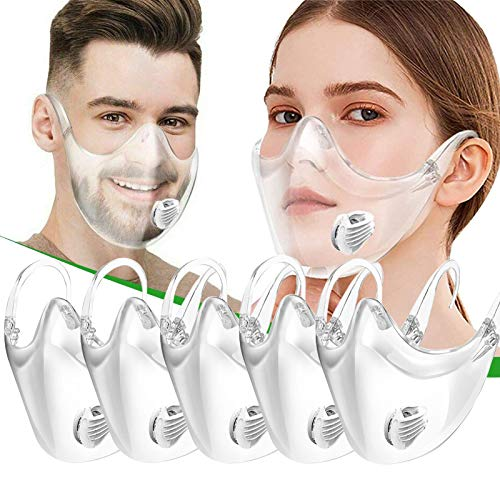 (5PCS)Clear Face_Mask—Plastic_Mask—Transparent Face_Mask Reusable—Clear Face_Shield with Breathing Valve—Face_Protection for Men and Women