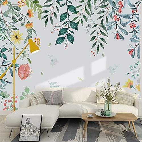 Nordic Blumen und Pflanzen TV Hintergrund Tapeten modernen minimalistischen Wohnzimmer Schlafzimmer Dekoration Wandbilder 6d Stereofilm Wand Clothpaste Grenzeffekt unter Schlafzimmer200cm×140cm