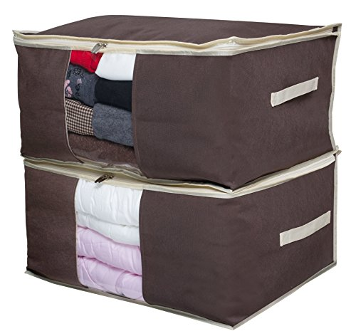 SLEEPING LAMB Jumbo Blanket Storage Bag Organizer Comforter Clothes Storage Containers Tidy Up Your Closets, Bedrooms, Shelves, Transparent Window