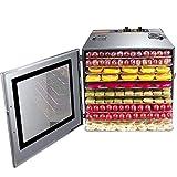 Mxmoonan Deshidratador de Alimentos 10 bandejas -1000 W Comercial, 35-90℃, Caja de Control Desmontable, Temporizador de 12...