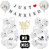 Sancuanyi Just Married Deko, Just Married Hochzeit Deko Set, Luftballons Weiß Hochzeit, Just Married Girlande für Heiratsantrag Hochzeit Fest Party Dekoration