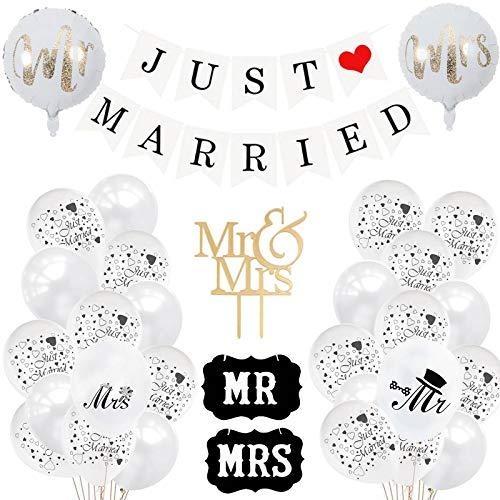 Just Married Deko, Just Married Hochzeit Deko Set, Luftballons Weiß Hochzeit, Just Married Girlande für Heiratsantrag Hochzeit Fest Party Dekoration