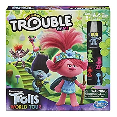Trouble: DreamWorks Trolls World Tour Edition Board Game for Kids Ages 5 and Up; Includes Tiny Diamond Figure with Hair, Model:E8906