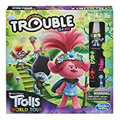 MUSICAL LANDS: Players pop the Trouble game Pop-O-Matic dice roller and move their DreamWorks Trolls character pawns around the board; Discover musical lands from the Trolls world TINY DIAMOND FIGURE: This edition of the Trouble game includes a Tiny ...