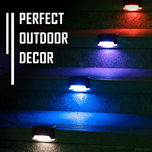 Solpex Solar Deck Lights Outdoor, 16 Pack Solar Step Lights Waterproof Led Solar Lights for Outdoor Decks, Stairs, Step, Fence, Yard, and Patio(Color Changing)