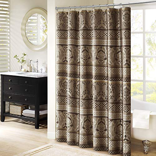 Madison Park, Luxurious Faux Silk Jacquard Design Bellagio Taupe, Transitional Shower Curtains for Bathroom, 72 X 72, Beige, 72x72, Brown