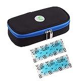 ONEGenug Portable Insulin Cooler Bag Temperature Display Epipen case Diabetic Organizer Medical Travel Cooler + 2 Ice Chill Packs(Black)